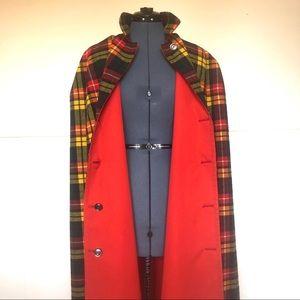 Vintage Plaid Poncho, Reversible Cape, Fall Colors